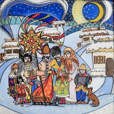 """""""Колядники"""" (малюнок на склі). Авторка - Юлія Малежик"""