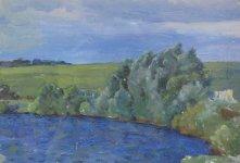 Борис Вінтенко  (1927-2002)  «Етюд. Біля ставка»,  1980-і роки, полотно, олія,  розмір 24х36 см робота надана Броніславом Куманським стартова ціна - 1100 грн.