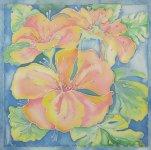 Ірина Зантарія «Квіти», 2015  батік  розмір 42х42 см стартова ціна - 500 грн.