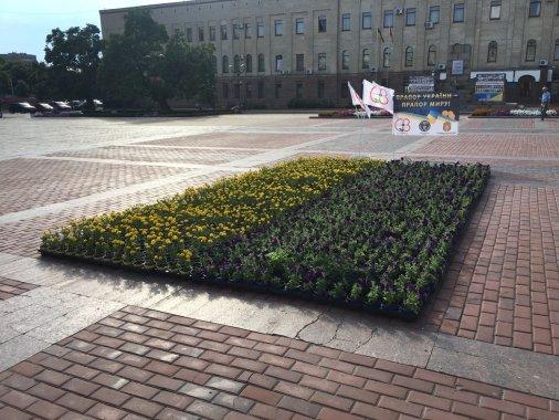 На площі Героїв Майдану - квітковий прапор