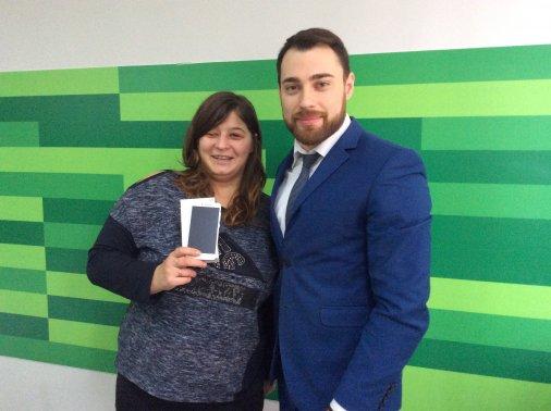 Новесенький смартфон за квиток отримала пані Марія з Новоукраїнки!