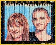 двойной портрет - акрил на карандашах